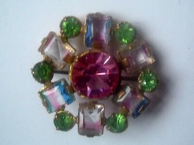 1920s/30s CLAW SET RAINBOW CRYSTAL with GREEN & PINK FACETED BROOCH