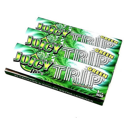 Juicy Jay's Trip Green flavored rolling papers 1 1/4 Size 3 Packs Menthol 32 ea