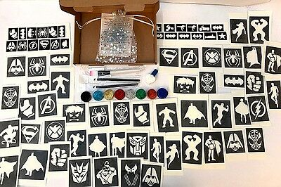 GLITTER TATTOO KIT SUPERHERO SPIDERMAN IRONMAN FLASH  90 large 60 mini stencil
