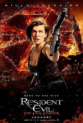 """Resident Evil The Final Chapter 2017 Movie Art Milla Jovovich Film Poster 27x40"""""""
