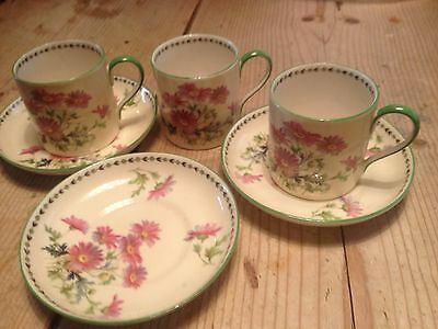 VINTAGE AYNSLEY  3 x coffee cans and saucers British porcelain china
