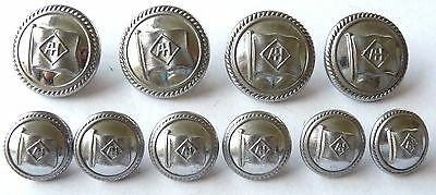 "Alfred Holt, Shipping line 4x24mm, 6x17mm  White metal buttons (INTERLOCKING ""T)"