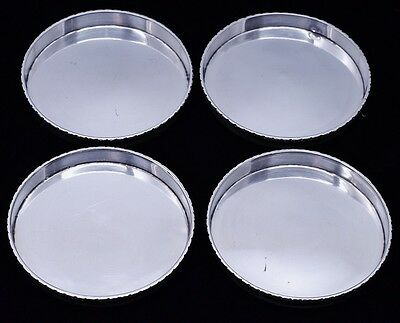 Great Set 4 Poul Petersen Hammered Sterling Silver Leaf & Berry Drink Coasters