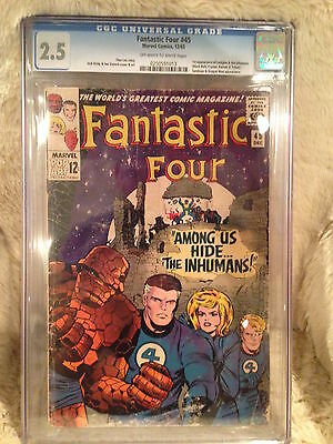 Fantastic Four #45 CGC 2.5 1st Appearance of The Inhumans Crystal Marvel 12/65