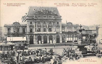 Cpa 50 Cherbourg Place Chateau Marche