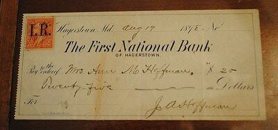 Internal Revenue Stamp 2 Ct. The First National Bank Of Hagerstown Md Circa 1898