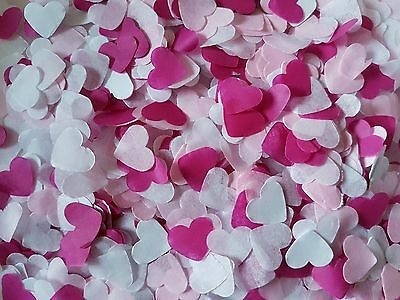 2 Handfuls Pink & Hot Pink,white Hearts Confetti Wedding Decoration/throwing/eco