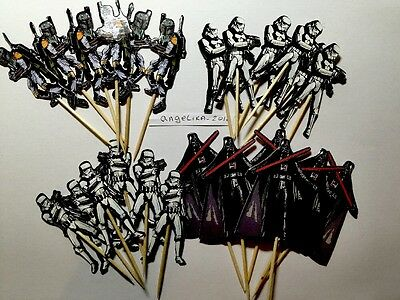 12 x Star Wars Cake Picks/Cupcake Toppers Kids Birthday Party Decoration #24789@