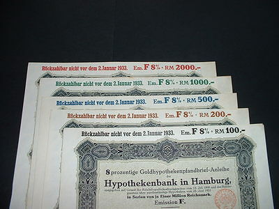Original 1927 Hamburg Germany 5 Off Gold Marks  Bond With Embossed  State Seal