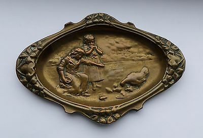 Lovely Art Nouveau Brass Tray Dish Feeding Chickens WMF