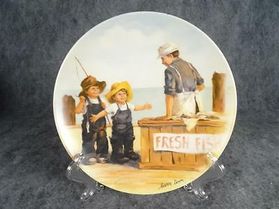 "Edwin Knowles Ceramic Collector Plate ""Fish Story"". Plate Number 4428M"
