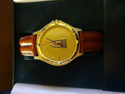 Coca Cola Enterprises Watch Brown Leather Strap-Jostens RARE Employee Gift