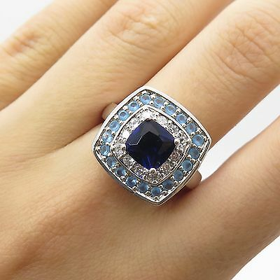 925 Sterling Silver Blue-And-White C Z Ring Size 8