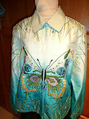 LOVELY women's 100% Silk Jacket featuring embellished Butterfly; Large
