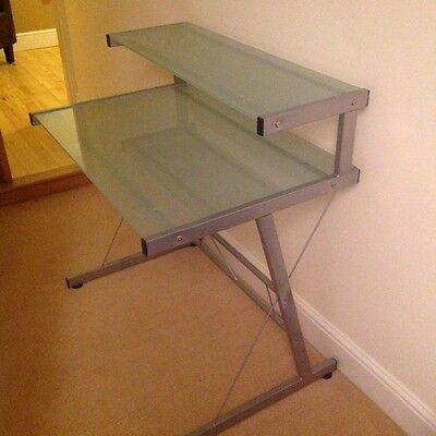 Modern frosted glass and metal desk/table