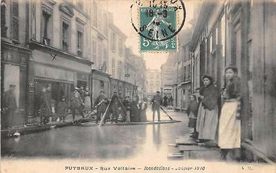 Cpa 92 Puteaux Inondations Rue Voltaire