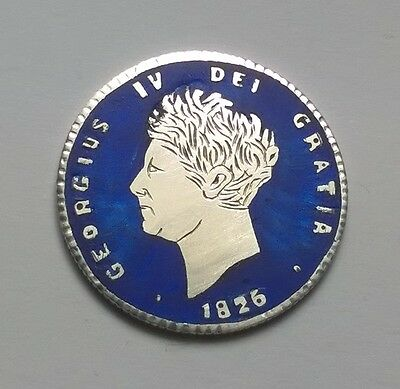 Enamelled & Engraved Coin , George Iv Silver Shilling 1826 , Blue
