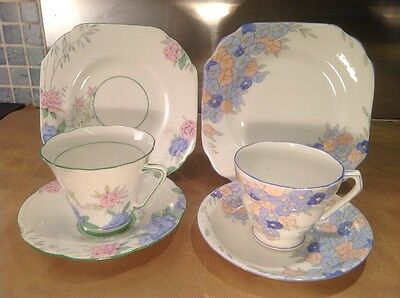 Vintage Trios x2 Grafton & Radford c1935 cup and saucer & plate English Art Deco