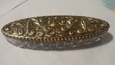 cut glass boat shape container with ornate brass lid