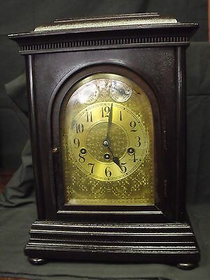 Ant. Junghans German Mahogany Bracket Clock, Westminster Chimes, 8 x 12 x 17 H