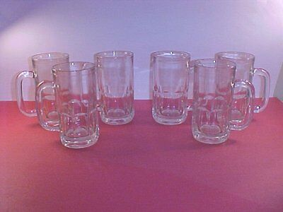 Set of 6 clear glass Root Beer Mugs