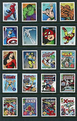 US 2007 Marvel Comic Singles 20 Stamps, Scott 4159a-4159t 4159a-t, NH USA