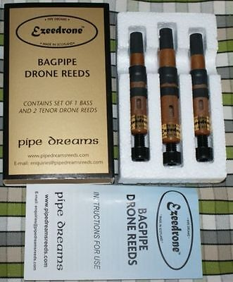 Ezeedrone Drone Reeds for pipes highland bagpipe by Pipe Dreams 2 tenors 1 bass
