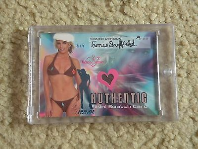 2003 Benchwarmer Bikini Swatch Card Archive Signed Version Tamie Sheffield 5/5