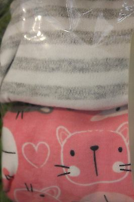 New TU grey striped and pink cat baby girls long sleeve bodysuits X 2  18-24m