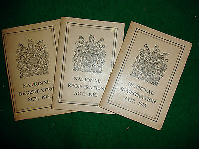 WW1 Home Front Documents 3 x WW1 National Registration cards Swansea Dated 1915