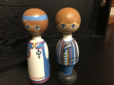 Vintage 1970S Wooden Dolls made in Finland 7 Inches Tall