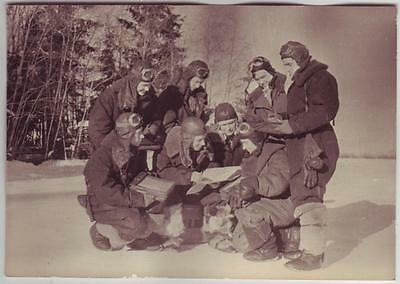 Russian Wwii Staged Up Press Photo: Air Forces Pilots, Wintertime