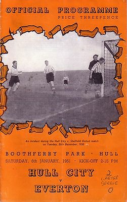 HULL CITY v EVERTON 1950/51 FA CUP 3RD ROUND