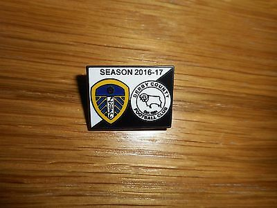 MATCHDAY PIN BADGE :  LEEDS UNITED  v  DERBY COUNTY  2016/17 ~ JAN 13th FREEPOST