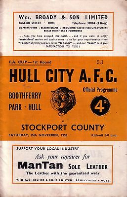 HULL CITY v STOCKPORT 1958/59 FA CUP 1ST ROUND