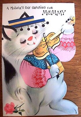 Vtg  Greeting Card  CAT Kitty & FIDDLE Violin DIE CUT  Forget Me Not  50's