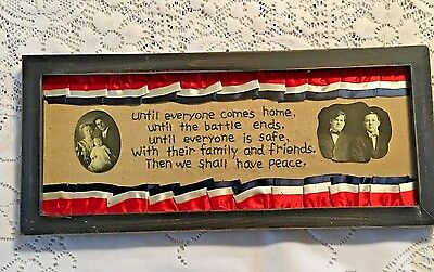 """Vintage Framed Completed Civil War Needlepoint """" Everyone Comes Home """""""