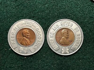 Lot of 2 Encased Good Luck Lincoln Penny Cents 1950 D 1961 D