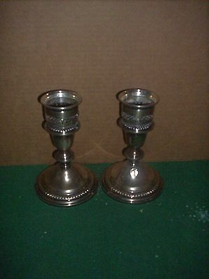 "Vintage Sterling Silver Candlesticks 7 X 4"" Empire Co. Weighted Have Dents"