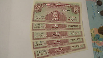 british armed forces £1 note x 5 U/C & consecutive nos