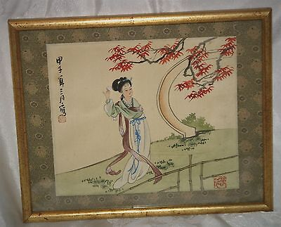 ANTIQUE signed JAPANESE PAINTING ON SILK of a GEISHA GIRL