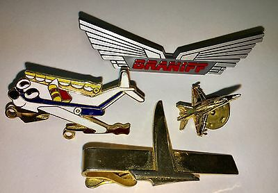 Vintage Airlines Pins 3 And Tie Bar Braniff Eastern