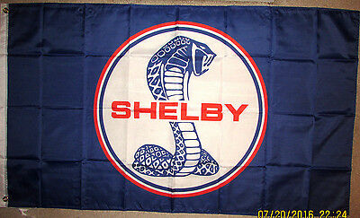 FORD SHELBY 3x5 FEET FLAG BANNER MUSTANG GT350R 500 BLUE COBRA With Grommets NEW