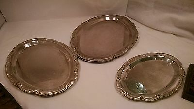 Lot of Three Silver Plated Platters, Decorative Serving Tray, Ornate Dishes