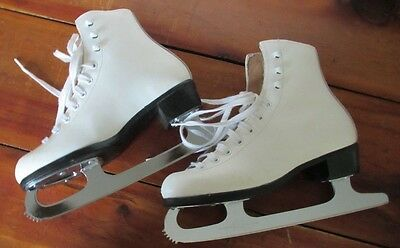 Riedell  121 White Leather Figure Ice Skates Girls 3.MK Sheffield Blades Ex. Co.