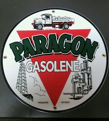 Paragon Gas Oil Porcelain advertising Sign