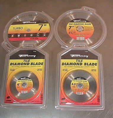"Forney Tile Saw Diamond Blade 4-Pak, Two 4.5"" & Two 7"" - New"