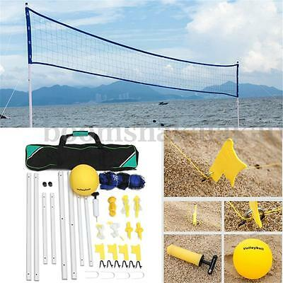 Beach Volleyball Net System Portable Set Adjustable Posts Ball Hand Pump AUSTOCK