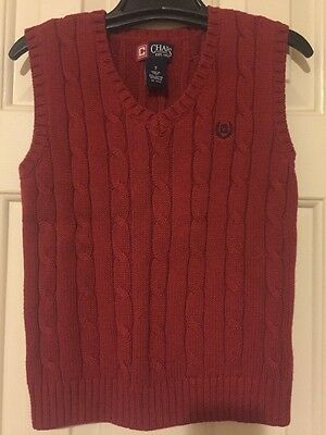 Chaps Boy's Red Sweater Vest Size 7