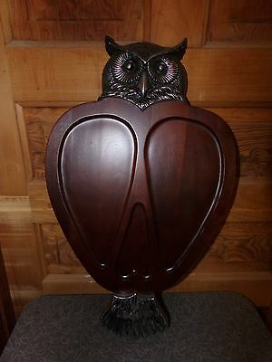 Vintage Retro Wood and Metal Large Owl Serving Tray